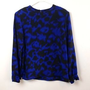 Tan F Jay Women's Vintage Blouse Blue and Black